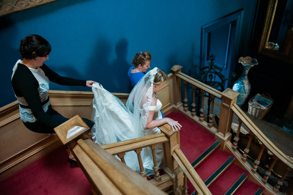 Bride descending the lobby staircase