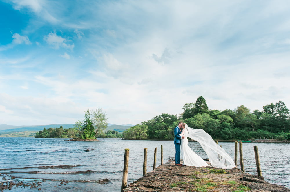 Bride and Groom beside Loch Awe