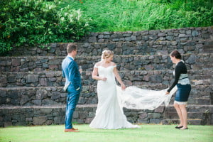 A bride and groom in the amphitheatre